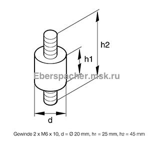Резинометаллический амортизатор, 201609050004